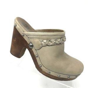 UGG Kaylee Cream Leather Mule Heel Shoe SIZE 8